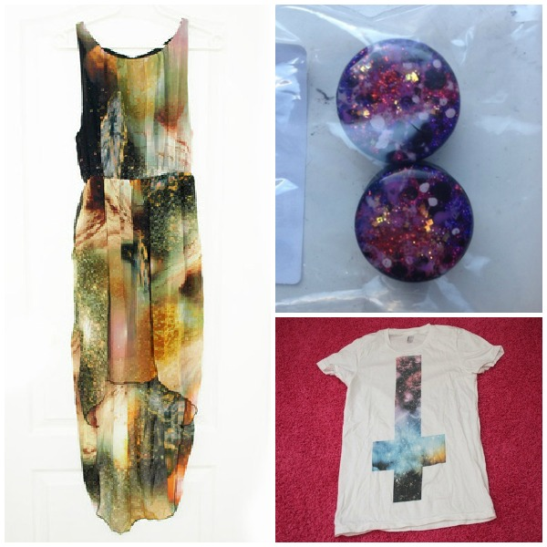 galaxy kleid shirt schmuck ohrringe